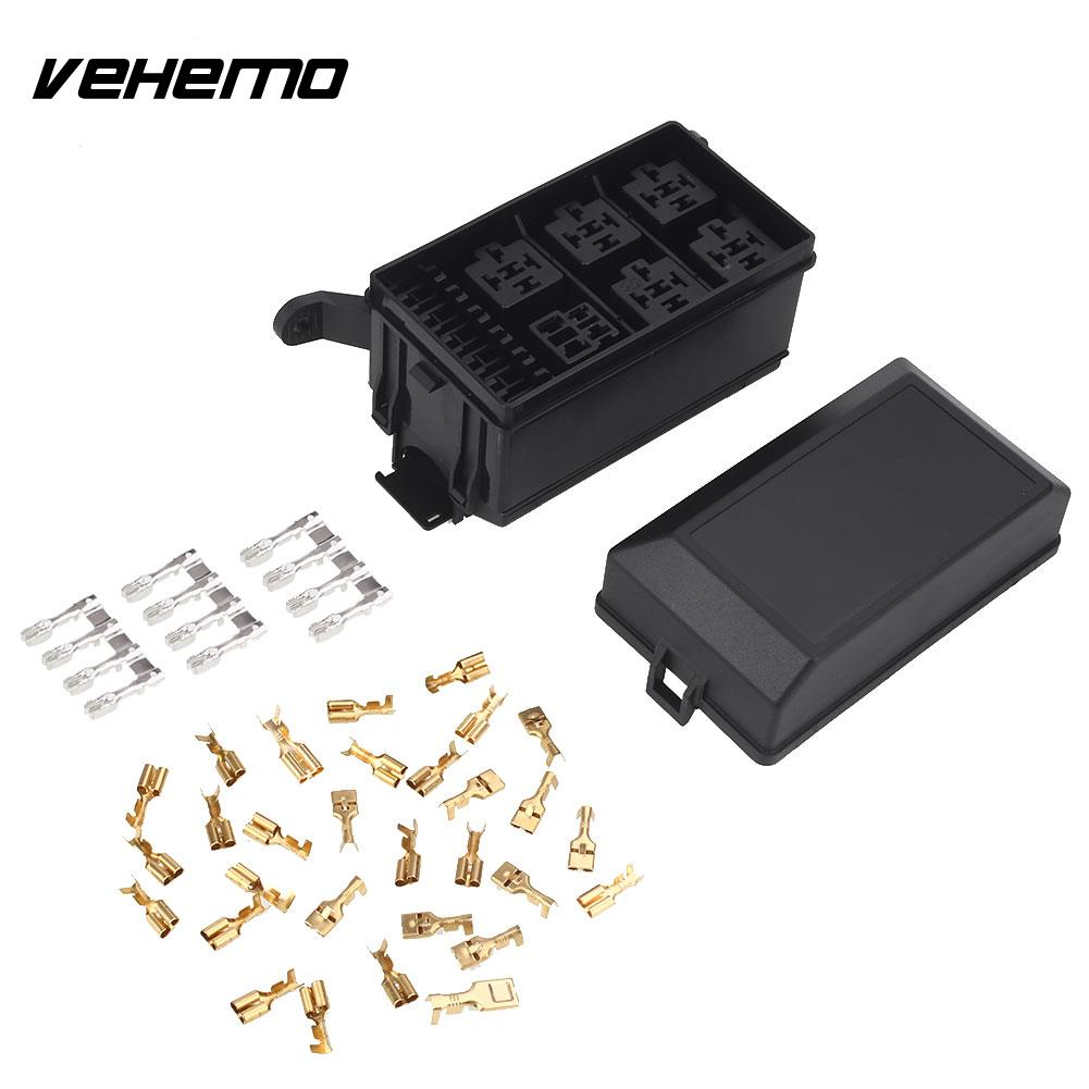 vehemo dc 12v 20a black car fuse box 6 relay block holder spare fuse box holder automobile replacement universal [ 1001 x 1001 Pixel ]