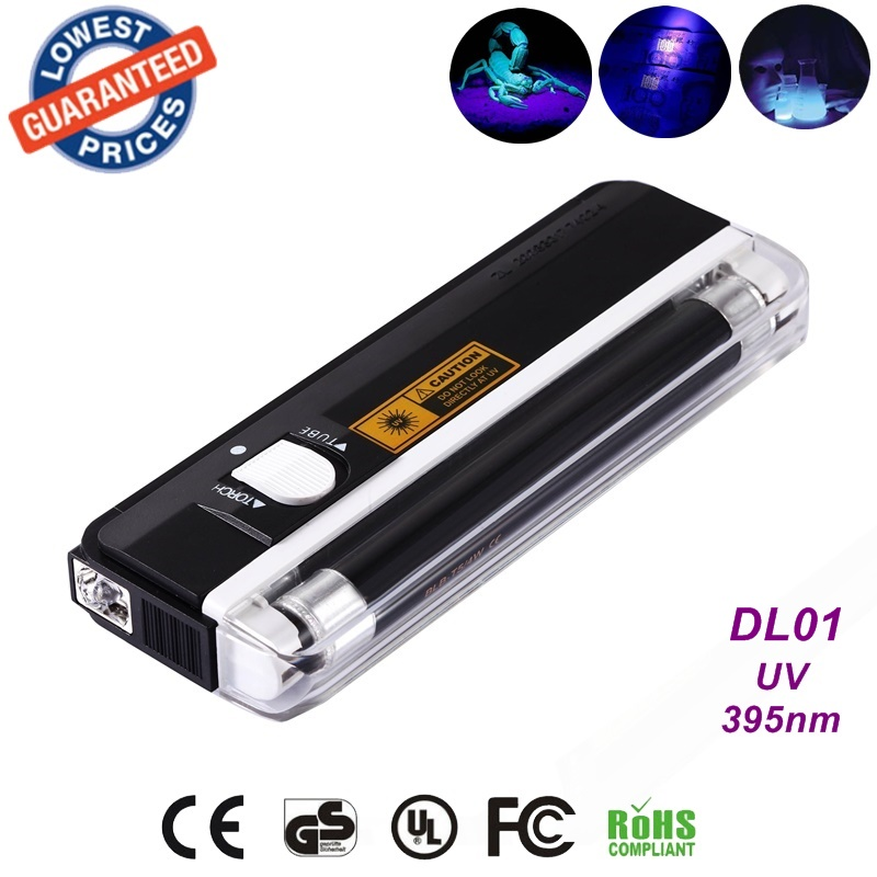 Quality goods handheld money detector back light UV lamp forge money test currency/bank note detector Handheld +flashlight zno nanoparticles uv detector