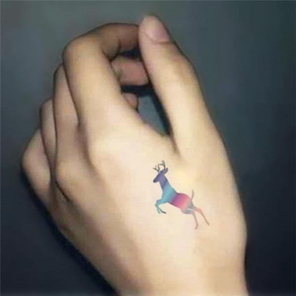 8580488c4 HC1126 Waterproof Temporary Tattoo Sticker Harajuku Wind Gradient Deer  Design Fake Tattoos Decals Body Art Painting Fast Tattoo