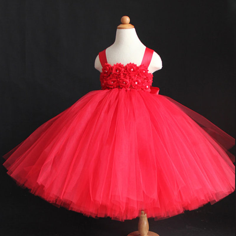 Girls Tutu Wedding Dress For Party Birthday Long Red Flower With Straps Tulle Kid Ball Gown Princess Tutu Vestidos Dress 1-10Y silver gray purple pink blue ball gown tutu soft tulle puffy flower girl dress baby 1 year birthday dress with spaghetti straps