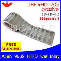 RFID tag UHF sticker Alien 9662 EPC6C wet inlay 915mhz868mhz Higgs3 500pcs free shipping long range adhesive passive RFID label