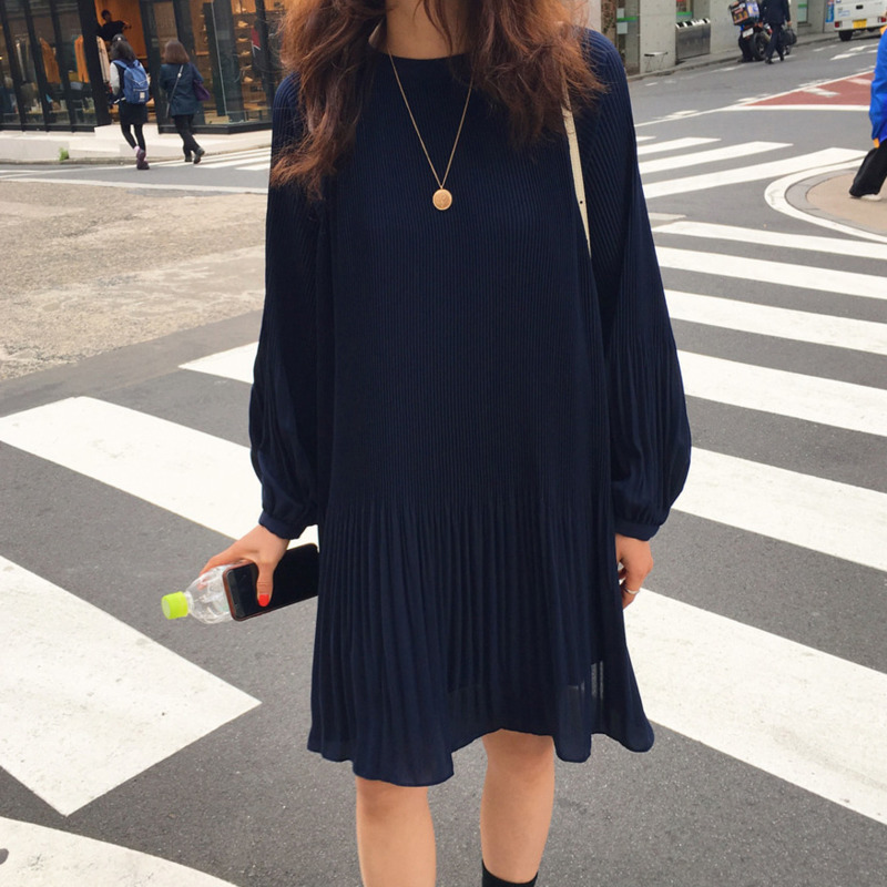 LANMREM 2020 New Korean Summer Fashion Women Clothes Vacation Dresses Lantern Sleeves Pullover Loose Chiffon Dress Pleated WG686 2