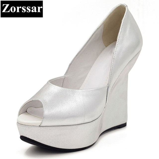 40e93a187eb18 Summer Womens shoes platform peep Toe high heels sandals Women pumps silver  2017 NEW Fashion comfort wedges woman heels shoes
