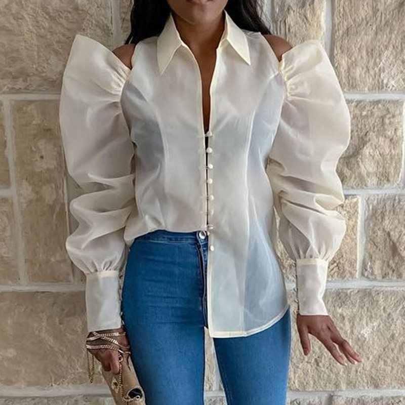 White Women Tops Blouse Lapel See-Through  Plain Long Sleeve Standard Shirts 2019 Autumn Elegant Office Lady Female Blouse