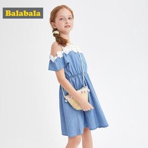 Image 3 - BalabalaBaby Girl Dress with Animals Princess short Sleeve Dresses Children summer Clothing for Kids