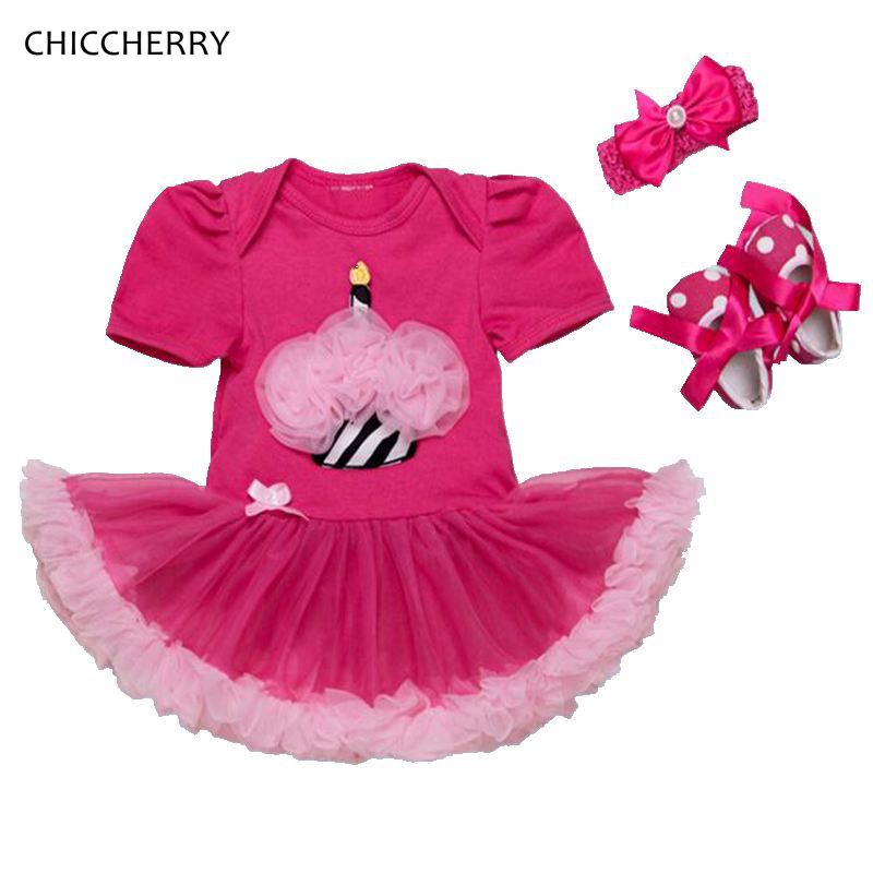 Cupcake Applique 1 Year Girl Baby Birthday Dress Headband Crib Shoe Kids Clothes Roupas De Bebe Kinderkleding Birthday Gift Sets