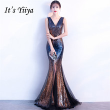 It's Yiiya Evening dress Sequined Zipper back V-neck Trumpet Party Gowns Sexy Floor-length sleeveless Mermaid Prom dresses C135 it s yiiya sequined evening dress v neck regular sleeve zipper back mermaid prom dresses floor length formal party gowns c070