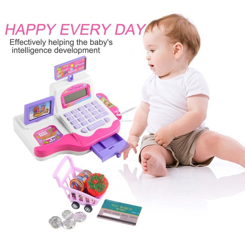 Kids Simulation Supermarket Cash Register With Shopping
