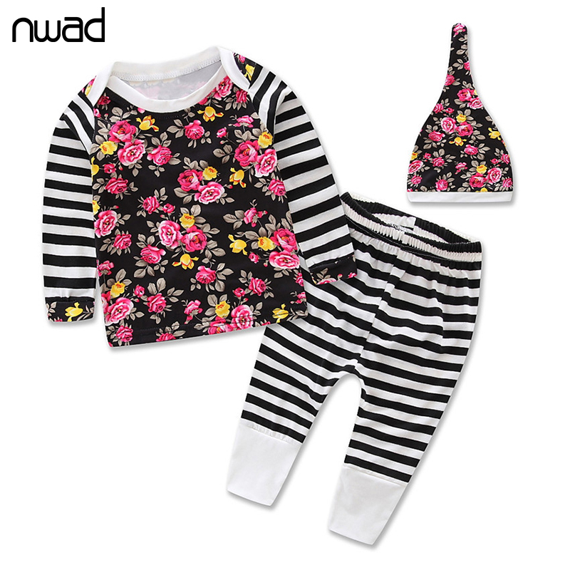NWAD Baby Girl Clothes Spring Autumn Flower Print Clothing Suit For Toddler Girls Clothes Set Infant Striped Clothing FF227