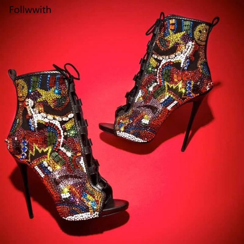 Multicolore Sexy Sandales À Chaussures Pic W As Bottes Recouvert Stiletto Plate forme D'été Toe Hauts Dames Peep Lacets Talons De Cristal Bottines 7x7zXrg