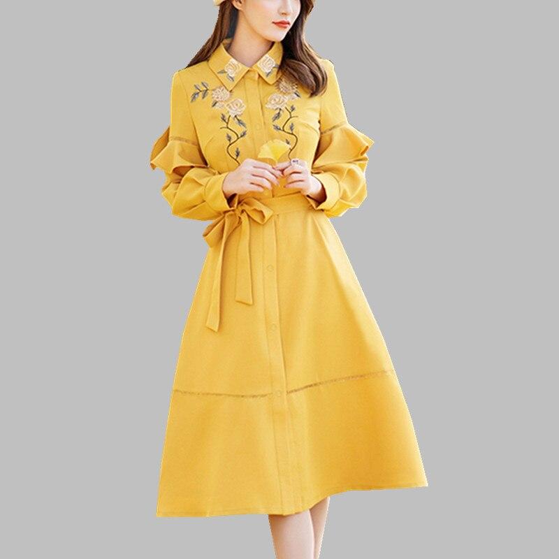 HAMALIEL haute qualité jaune robe 2019 piste printemps femmes simple boutonnage volants robe mode broderie Floral Vestidos