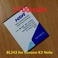 Novo chegou 3700 mah uso da bateria do telefone móvel para lenovo k3 note k50-t5 bl243 telefone