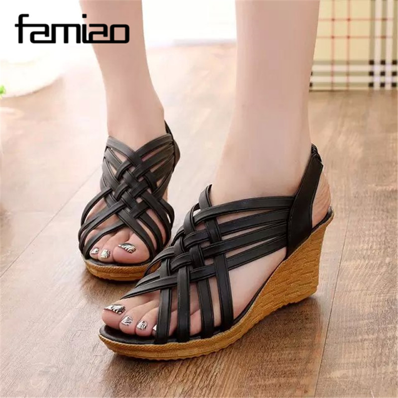 Women Sandals Wedge Shoes Women Summer Sandals Platform Fashion ladies shoes 2017 sandalias mujer gladiator wedges high heels summer high quality women flats sandals plus size 34 43 new fashion casual ladies sandalias comfort mujer gladiator woman shoes