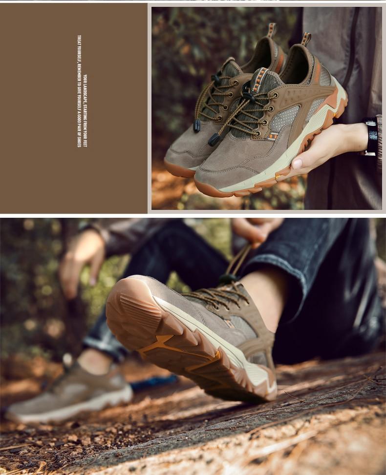 Couro genuíno caminhadas sapatos homens 2018 nova