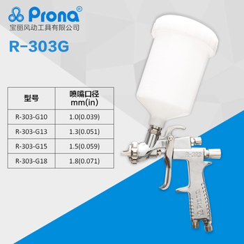 цена на Prona R-303 gravity feed manual spray gun with cup,car painting gun, free shipping, 1.0 1.3 1.5 1.8mm nozzle size to choose,R303
