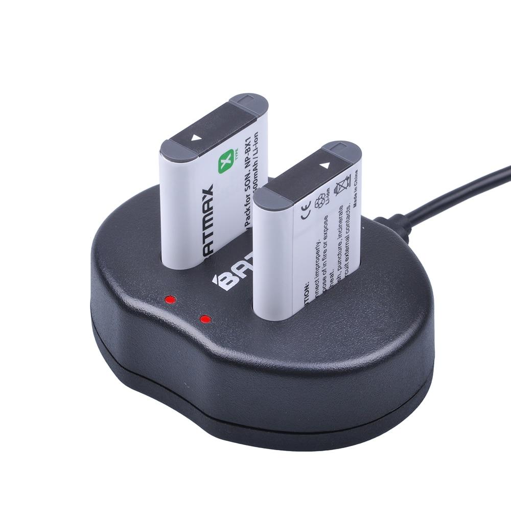 2x NP-BX1 NP BX1 ACCU NPBX1 + dual batería cargador USB para Sony NP-BX1 HDR-AS200v AS20 AS15 AS100V DSC-RX100 X1000V WX350 RX1