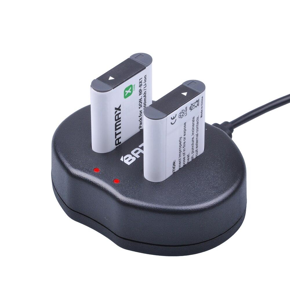 2x NP-BX1 NP BX1 NPBX1 + Double bateria accu USB chargeur Pour Sony NP-BX1 HDR-AS200v AS20 AS15 AS100V DSC-RX100 X1000V WX350 RX1