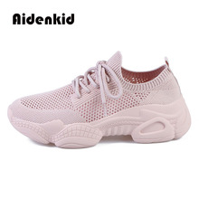2019 new ladies summer mesh breathable hollow sports shoes casual ins super fire net red large size 34-43