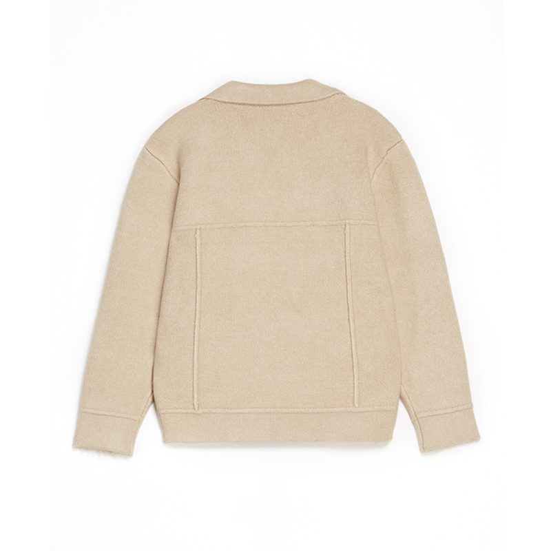 Veste Hauts De Revers Solide Lâche Couleur Hiver blanc Chandail Manteau Automne Outwear noir Beige Court Cardigan Sparogerss Femelle over Pull Hx13829 XwazAq
