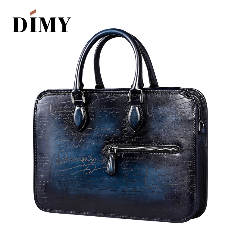 DIMY Italian Calfskin Leather Briefcases Bags For Men 2018 Macbook Handmade Laptop Bags Business Case Totes Vintage Shoulder Bag in Briefcases from Luggage Bags