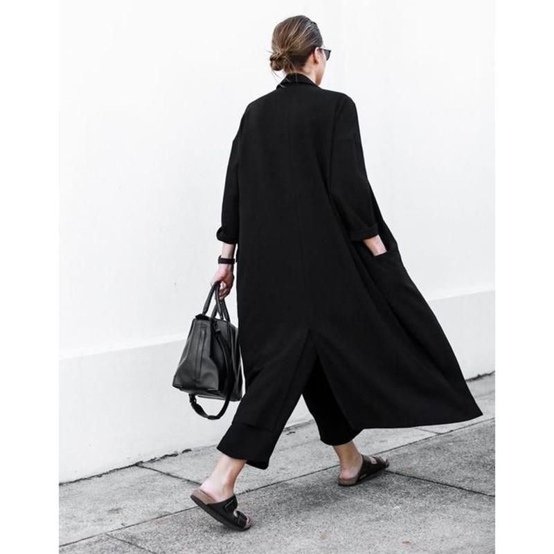 TREND Setter 2019 Summer and Autumn Long Trench Coat Women Black Thin Oversize Loose Chiffon Windwear