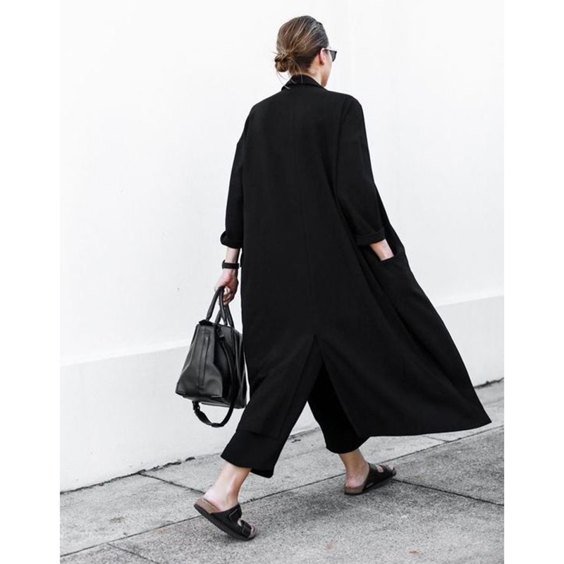 TREND-Setter 2019 Summer and Autumn Long   Trench   Coat Women Black Thin Oversize Loose Chiffon Windwear