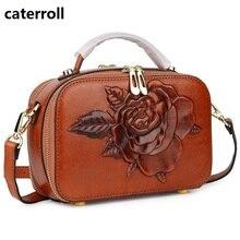 small women bag genuine leather shoulder bags embossed floral ladies handbag real crossbody