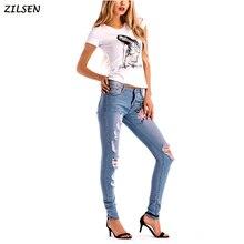 2019 Вышивка брюки женские высокоэластичные узкие рваные джинсы старинные цветочные карандаш джинсов Лучший!