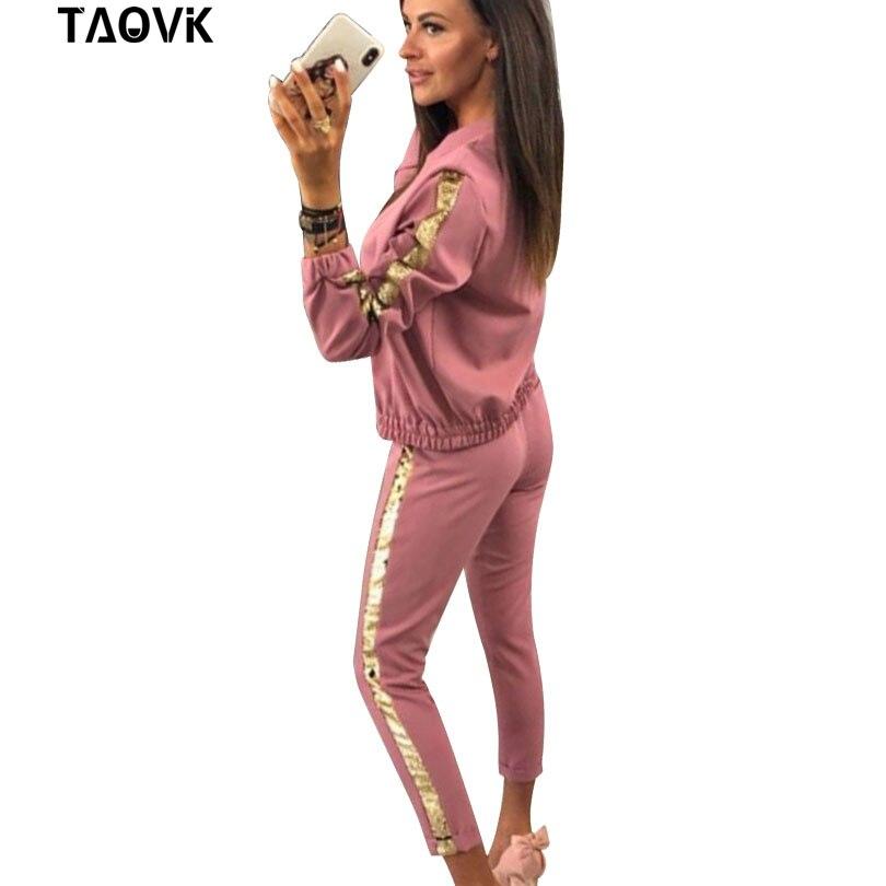 TAOVK Cotton Sport suit for Women 2 Piece Set Sequines Spring Fashion Zippers Suits Women Long