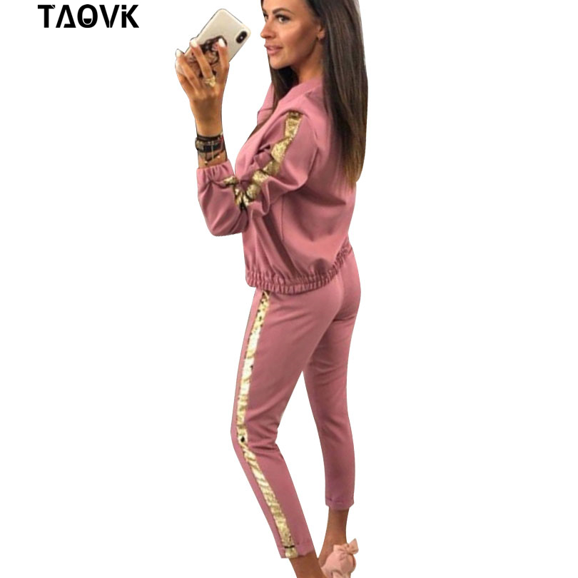TAOVK coton Sport costume pour femmes 2 pièce ensemble paillettes printemps mode fermetures à glissière costumes femmes à manches longues Sequin survêtement