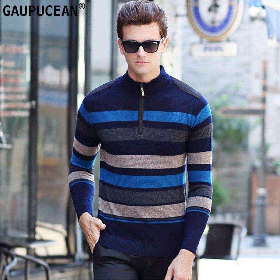 7f2df78291d63 100% шерсть Для мужчин свитер зимний вязаный в морскую полоску на молнии  шерстяной трикотаж мужской пуловер круглый Средства ухода за кожей Ш..