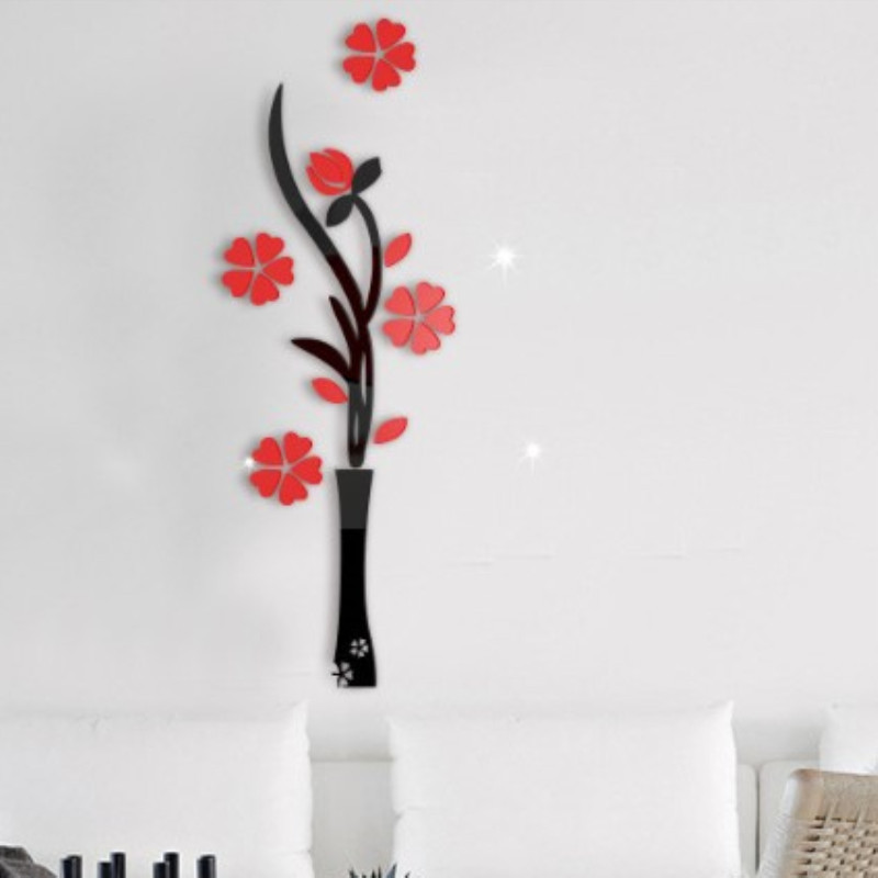 2019 Vase Flower Tree 3D Wall Stickers Decal Home Decororation