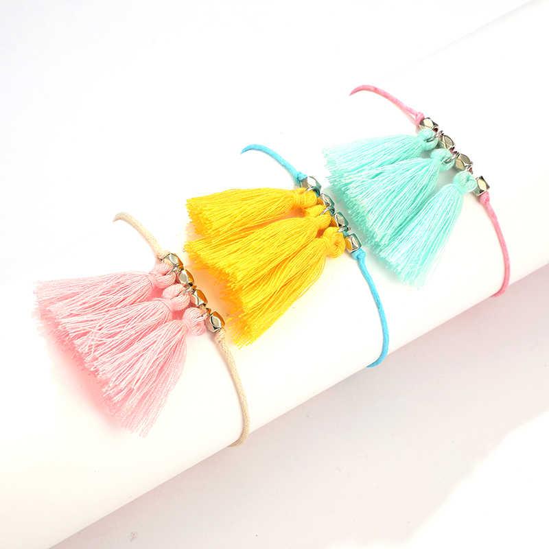 Docona красочные веревки кисточкой Кулон ножной браслет набор для женщин богемные бусины Регулируемая бахрома String бижутерия для ног 8092