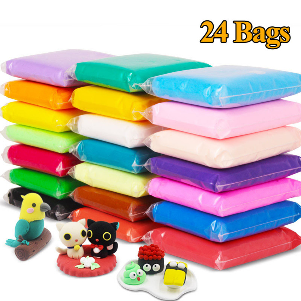 24bags Different Colors Air Drying Super Light Plastic Clay Plasticine Educational Soft Play Dough Toy Gift Safe Nontoxic XWJ65