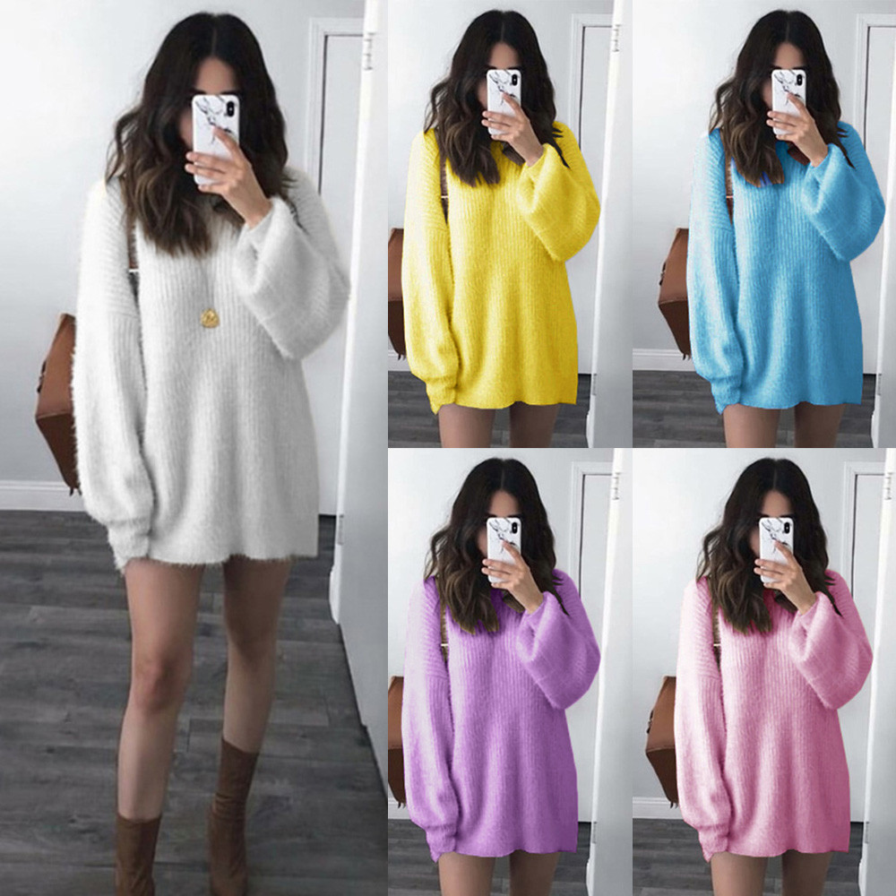 Fashion Women Solid O-Neck Loose Knitted Warm Long Latern Sleeve Sweater Blouse sweater women cardigan jersey mujer pullover