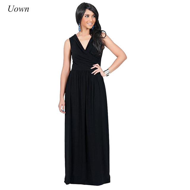 Women Casual Summer Sleeveless Maxi Dress V Neck Black White Bandage