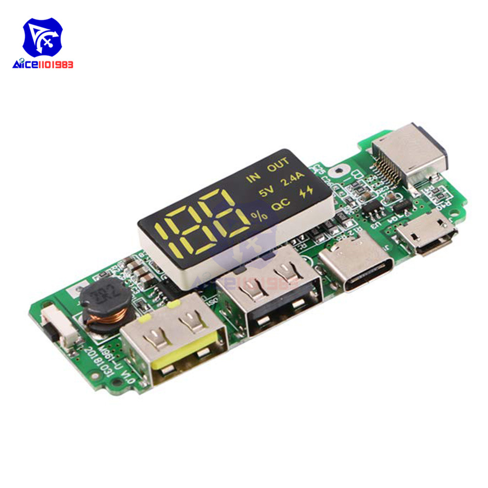 LED Dual USB 5V 2.4A Micro/Type-C/Lightning USB Power Bank 18650 Charger Board Overcharge Overdischarge Short Circuit Protection