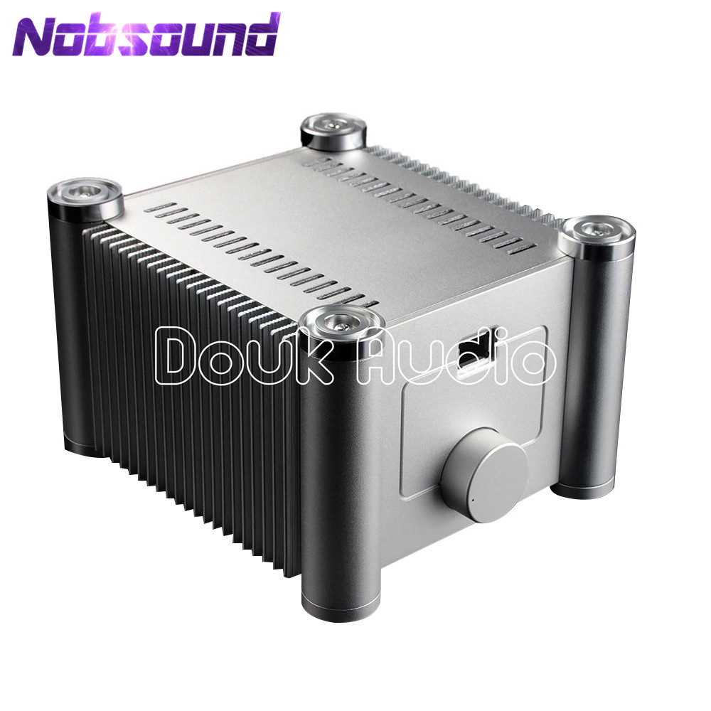 Nobsound Two-layers Square Aluminum Enclosure Power Amplifier Chassis DIY Case White Box nobsound hi end audio noise power filter ac line conditioner power purifier universal sockets full aluminum chassis