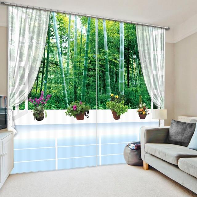 3D Bambus Wald Vorhang Stoff Vorhänge Für Wohnzimmer Sonnenschirm