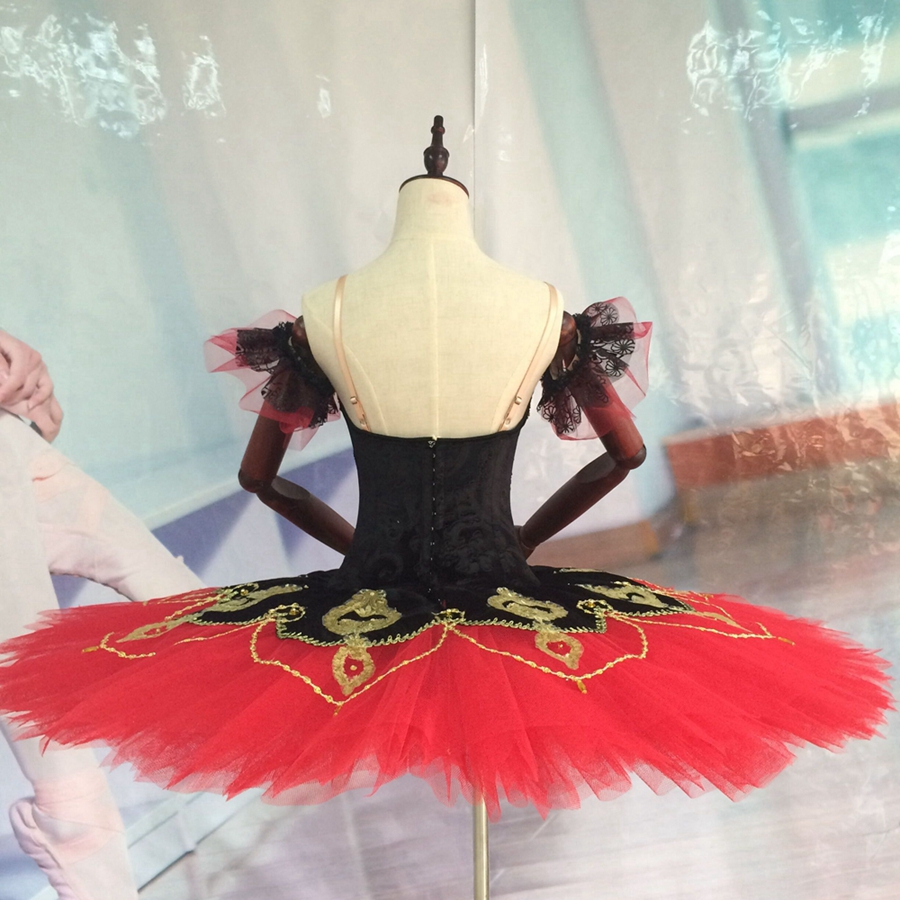 Don Quixote Professional Ballet Tutu Black Red La Esmeralda Adult Women Professional Tutus Kids Pancake Tutus for Competitions in Ballet from Novelty Special Use