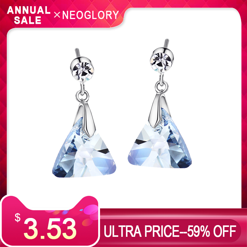 Neoglory Austria Crystal & Czech Rhinestone Long Drop Earrings Geomer Triangle Style Party Elegant Trendy Lady Girl Daglig Salg