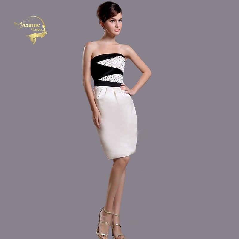 Short Skirt Contrast Color Satin Straight Strapless   Cocktail   Party   Dresses   Abiti Da Cerimonia Donna Robe De Soiree Courte JO587