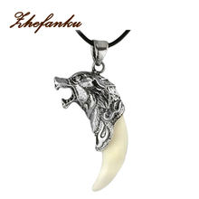 Charming Jewelry Evil Spirits Wolf Heads Shaped Pendant Necklace With Alloy Clavicle Chain NL-0795(China)