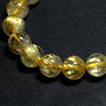 Natural Genuine Yellow Titanium Gold Hair Needle Rutile Quartz Rutilated Finished Stretch Bracelet Round Jewelry beads 04198