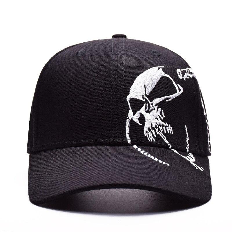 f785e302196 High Quality Unisex 100% Cotton Outdoor Baseball Cap Skull Embroidery  Snapback Fashion Hats For Men   Women Cap adjustable