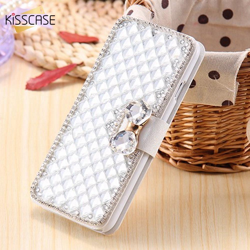imágenes para Kisscase para iphone 7 7 plus case cajas del teléfono de bling del rhinestone del diamante para iphone 7 6 6 s más 5 5S cristal sí flip de cuero cubierta