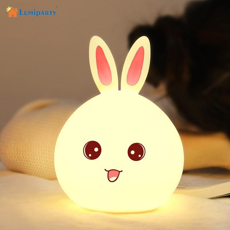 AKDSteel 3 Modes 7 Color Changing Rabbit Night Lamp Pat Sensor Night Light Bedside Light Baby Nursery Light USB Rechargeable