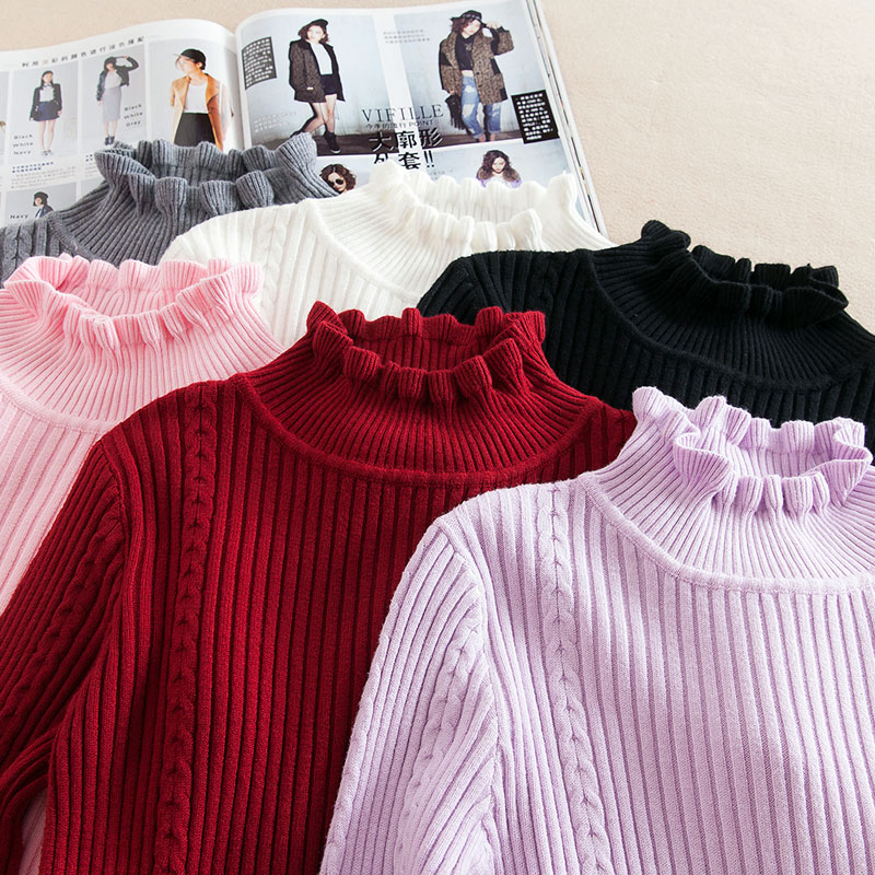 2018 new Fashion half Korean women knitted cashmere sweater slim petal collar shirt Elastic Bottoming Turtleneck Twist Pullover