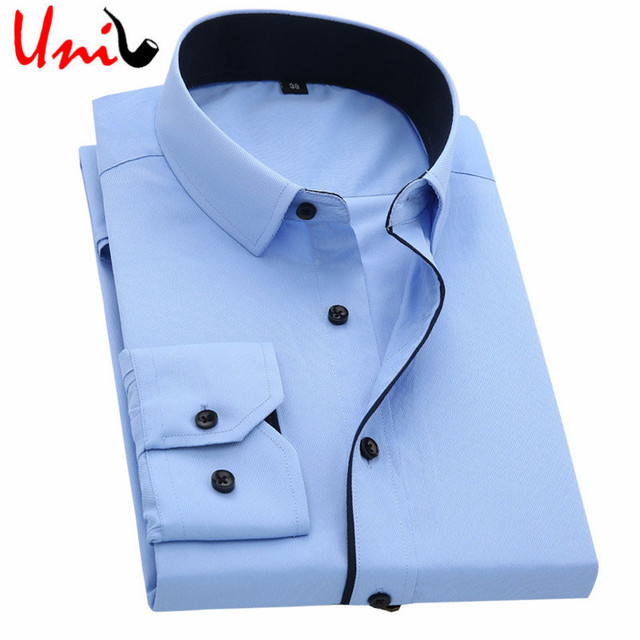 2016 Men's Wedding Shirt Long Sleeve Men Dress Shirt Business Solid ...