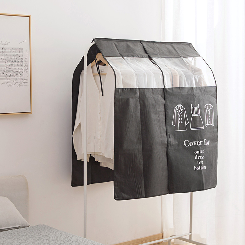 vanzlife Non-woven coat dust proofing cover Household hanging Overcoat Clothing Cover suits pocket Storage Bags closet organizer title=